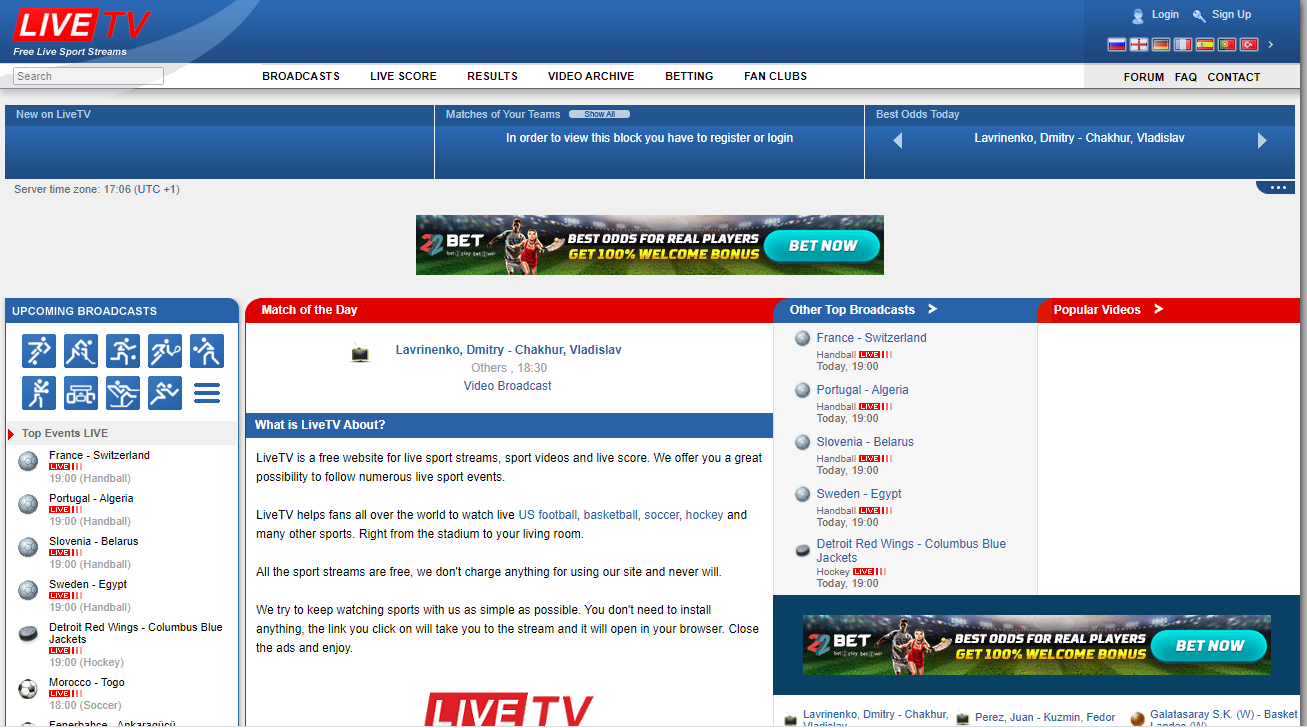 Live tv Sport Streaming Site